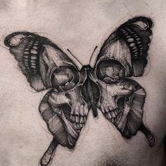 Intense black and gray skull butterfly (IG-bk_tattooer). - Intense black and gray skull butterfly (IG-bk_tattooer). and gray … … – Intense bl - Pretty Skull Tattoos, Skull Butterfly Tattoo, Butterfly Tattoo Designs, Skull Tattoo Design, Butterfly Mandala, Butterfly Images, White Butterfly, Candy Skull Tattoos, Feminine Skull Tattoos