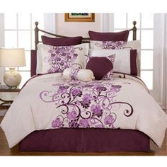 @Overstock - Your bedroom decor will come to life with this lovely 12-piece bedding ensemble. This cotton bedding features purple and plum colors in a floral wine design with an off-white background.http://www.overstock.com/Bedding-Bath/Grapevine-King-size-12-piece-Bed-in-a-Bag-with-Sheet-Set/5878022/product.html?CID=214117 $159.99