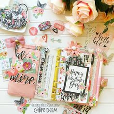 Carpe Diem planner with the Romance collection from creative team member Jomelle Gomez #carpediemplanner #plannerinserts #plannerlayouts #plannerideas #inspiration