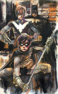 Batman, Nightwing, and Robin by Tommy Lee Edwards