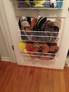 Easy way to store sandals and flats...next to the door?