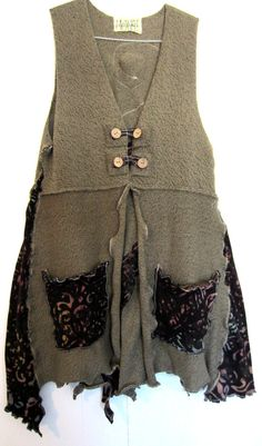 Upcycled Taupe Cotton Sweater Vest fits S M L by monapaints, $175.45