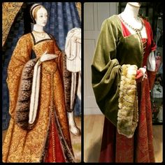 Left : Detail from: Epistulae Heroidum, Dejanira gives her husband Ercole a robe soaked with blood of the centaur Nessus , 1496-98 , miniatures , Bibliothèque nationale de France ( BNF). Right : work in progress of a 1500's gown by Angela Mombers