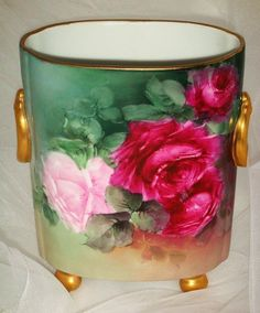 Guerin Limoges - Cache Pot - Vase - Hand Painted - Romantic Roses - from onlyfinelines on Ruby Lane