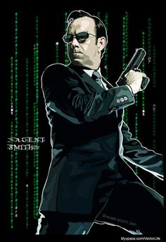 Agent Smith - by i. Comic Poster, Movie Poster Art, Comic Art, Agent Smith, Matrix Reloaded, Sci Fi Films, Film Images, The Best Films, Alternative Movie Posters