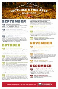 There many exciting events taking place at UW-Waukesha this fall, 2014.  Check them out!