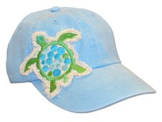 Show your love for sea turtles by getting one of these adorable ocean-blue baseball caps! The hat features an embroidered blue and green sea turtle. One size fits all. Sea Turtle Art, Turtle Love, Sea Turtles, Baby Turtles, Mermaid Mugs, Turtle Necklace, Diy Hat, Love Hat, Manatee