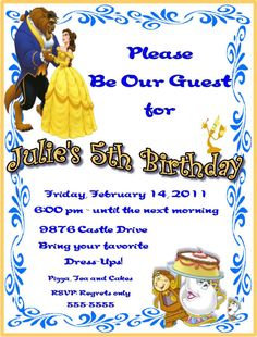 Get Beauty and the Beast Birthday Party Invitation Ideas  Download this invitation for FREE at http://www.bagvania.com/beauty-and-the-beast-birthday-party-invitation-ideas.html