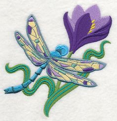 Dragonfly Spring machine embroidery design free from Embroidery Library