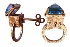 Topaz Locking Poison Ring with Key on Chain by MetalCoutureJewelry, $3,500.00