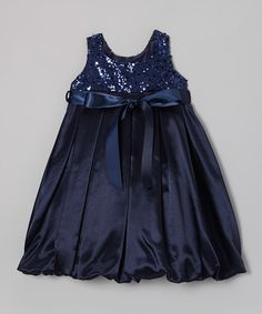 Take a look at this Navy Blue Sequin Bubble Dress - Toddler & Girls by Kid's Dream on #zulily today!