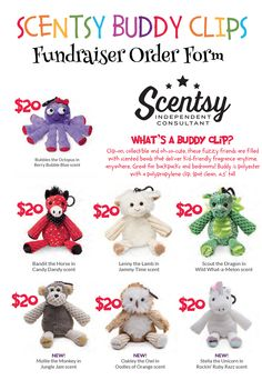 Scentsy Buddy Clip Fundraiser Order Form HttpHlavigneScentsy