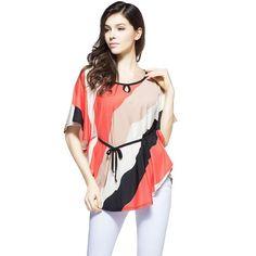 Women Batwing Sleeve T-shirt Loose Plus Size Fashion Women Dress O-neck T-shirt Presented a belt
