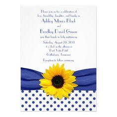Sunflower Royal Blue White Polka Dot Wedding Custom Invite