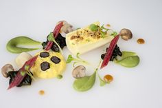 Winter Menu 2013 - Poached Hearts of Palm with Truffle Scrambled Eggs, Oatmeal & Hazelnut Crumble