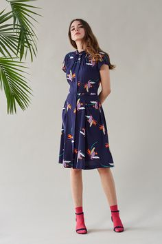 Polly Navy Floral Short Sleeve Shirt Dress   Dresses   Emily and Fin   Emily and Fin