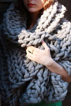 28'' x 40'' Gray Chunky Knit blanket or wrap, merino