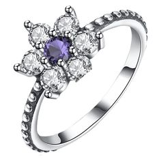 Artificial Amethyst Sterling Silver Floral Ring (47 BAM) ❤ liked on Polyvore featuring jewelry, rings, floral jewelry, imitation jewellery, amethyst stone ring, fake amethyst ring and sterling silver amethyst jewelry