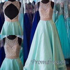 Cute sequins prom dress, handmade blue satin long prom dress for teens, prom…