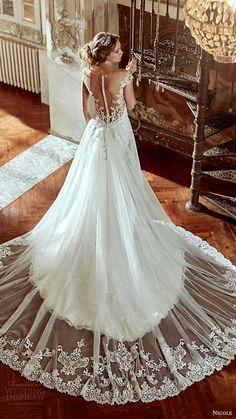 NICOLE spose bridal 2017 cap sleeve sweetheart neckline aline overskirt wedding dress (niab17053) bv illusion back long train