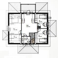 Andra våningens planlösning ⬆  Också andra våningens planlösning är vi nöjda med. Aulan blev mycket större i verkligheten än vad jag… Berg, Floor Plans, How To Plan, Instagram, Floor Plan Drawing, House Floor Plans