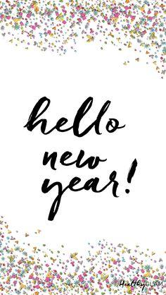 Hello new year iphone wallpaper glitter