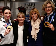 Wearing their 2014 Olympic Gold, Meryl Davis and Charlie White thank their moms.