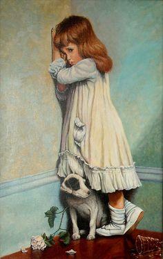 In Disgrace Artwork By Charles Burton Barber Oil Painting & Art Prints On Canvas For Sale Art And Illustration, Inspiration Art, Victorian Art, Victorian Paintings, Beautiful Paintings, Dog Art, Vintage Children, Belle Photo, Vintage Art