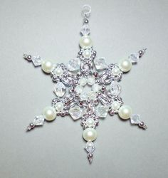 Snowflake Ornament White Pearl Silver and by SnowflakeStudio59