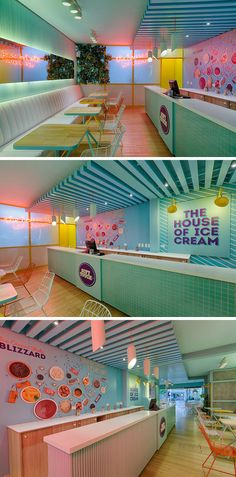 This modern ice cream store has a service counter on the right-hand-side with a turquoise tiled facade and a white countertop. Behind the bar, there's graphics depicting the flavors, and on the wall at the end of the space, is a bright pink neon sign. #RetailStore #IceCreamShop