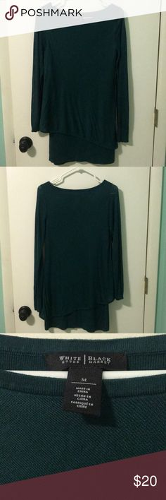 "Sweater WHBM beautiful emerald green tunic sweater with sheer sleeves, in excellent condition, size med, smoke free home, 31.5"" long from top of shoulder to bottom White House Black Market Sweaters"