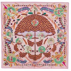 New Authentic Hermes Silk Scarf L'OMBRELLE MAGIQUE Pink Pierre Marie