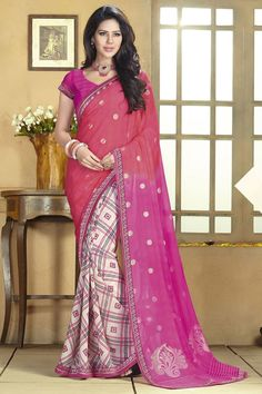 Pink Color #Designer #Printed #Party Wear Saree With Blouse At Skysarees.