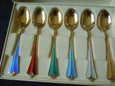 David Andersen Demitasse Spoon Set - Gold Washed Sterling Enamel in Fitted Box from The Lantern and The Shovel on Ruby Lane