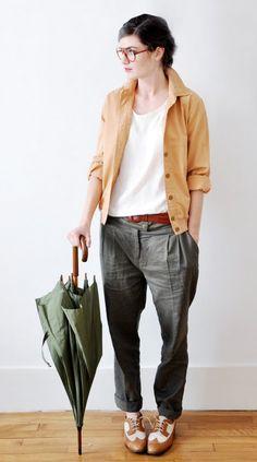 Summer warm weather basics: wide leg linen-blend trouser, cotton jacket, light shirt.