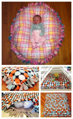 DIY Baby Floor Pillow Tutorial – No Sewing – baby pillow mat Diy Baby Blankets No Sew, Easy Baby Blanket, Sewing Pillows, Diy Pillows, Floor Pillows, Diy Baby Gifts, Baby Crafts, Sewing Projects For Kids, Sewing For Kids