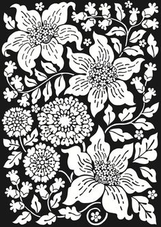 Crazy Bw Flowers From Flower Power Stained Glass Coloring Book By Dover