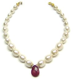 Helga Wagner Mother of Pearl Nugget Necklace with Ruby drop and Diamante Rondells.