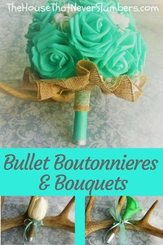 Bullet Boutonnieres and Bouquets - Yes. You read that correctly Bullet Boutonnieres and Bouquets! My daughter and her husband (who were married while still in high school, by the way) chose to incorporate ammunition into their wedding flowers. Free Wedding, Budget Wedding, Diy Wedding, Rustic Wedding, Wedding Ideas, Bullet Boutonniere, Boutonnieres, Wedding Bouquets, Wedding Flowers