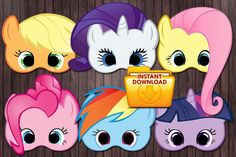 6 My little pony printable masks Birthday Party - custom diy on Etsy, $6.99