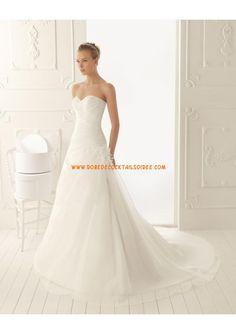 Robe blanche pas cher 2013 avec traîne simple robe de mariée mousseline