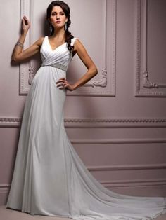 NO.0257471 aline vneck beading sleeveless court trains chiffon wedding dresses brides; greek goddess