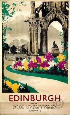 Edinburgh vintage travel poster