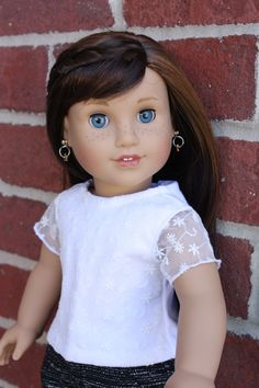 American girl doll clothes, 18 inch doll clothes, AG doll clothes, White t-shirt with mesh sleeve for your doll by GrandmasDollCloset on Etsy