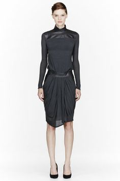 Helmut Lang Charcoal Leather & Jersey Turtleneck Dress for women | SSENSE