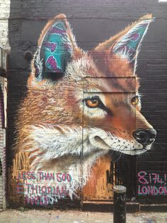 ethiopian wolf by louis masai michel, London #streetart #graffiti #urbanart #arteurbana #artederua #wall #mural