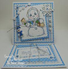 Magnolia Snowman OOAK Happy Holidays Easel by thehoosierstamper, $10.95