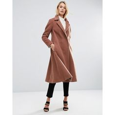 ASOS Midi Swing Trapeze Coat (£94) ❤ liked on Polyvore featuring outerwear, coats, brown, tall coats, trapeze coat, asos, asos coats and brown coat