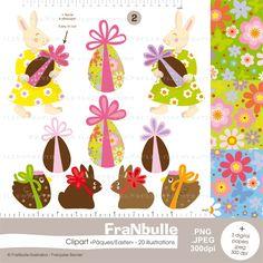 """Clipart Pâques/Easter, planche 2. Pour vos créations et décors de Pâques.  Les illustrations de cette planche sont plus faciles à découper, les noeuds ne sont pas évidés. Plus d'infos et les"""" points de vente"""" sur le blog http://blog.franbulle-illustration.fr/category/clipart. Utilisation : usage personnel et non lucratif. Pour tous renseignements, laissez moi un message, je vous répondrai avec plaisir ! © Françoise Bernier"""