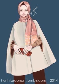 hijab with cape tool: paint tool sai